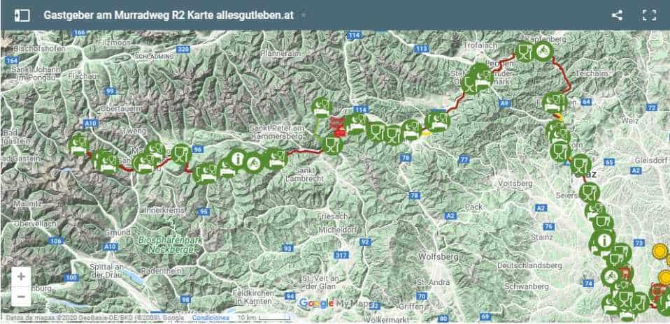 Murradweg Interkative Karte 2020 Aktuell